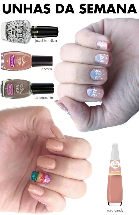 unhas-de-segunda-unhas-diferentes-e-nail-art-glitter-ombre-meia-lua-glitter-arco-iris-nude-jewel-fx-milani
