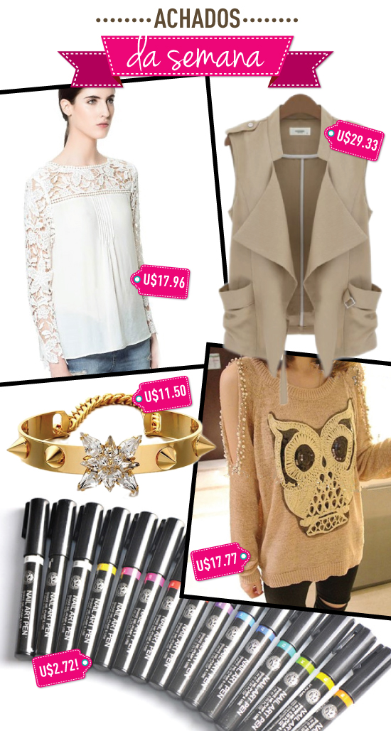 achados-da-semana-ebay-ali-express-aliexpress-coruja-bracelete-caneta-nail-art-unhas-blusa-renda-colete-sheinside