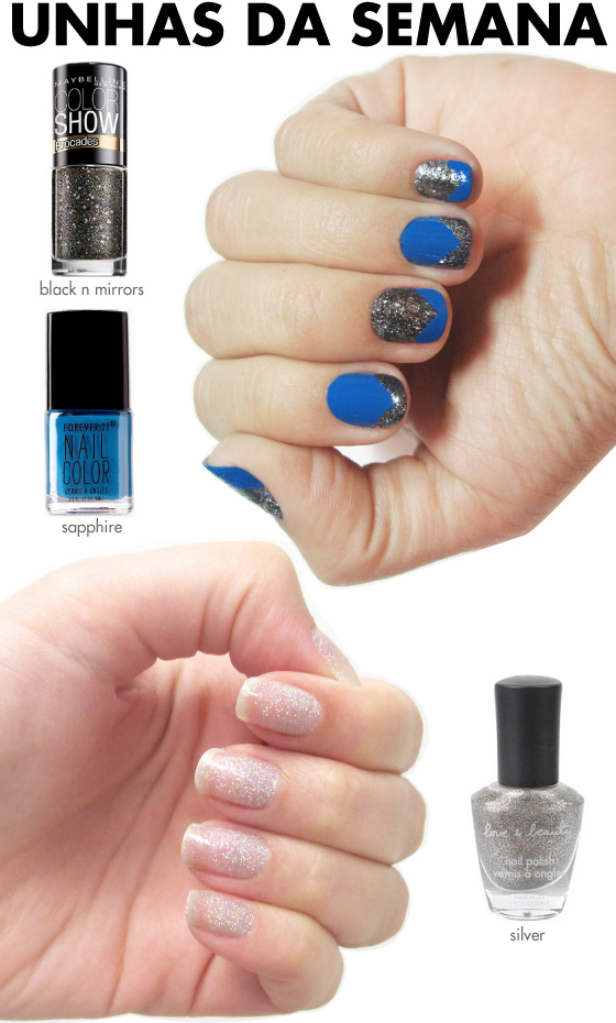 unhas-de-segunda-unhas-diferentes-e-nail-art-glitter-degrade-forever-21-sapphire-black-n-mirrors-maybelline-