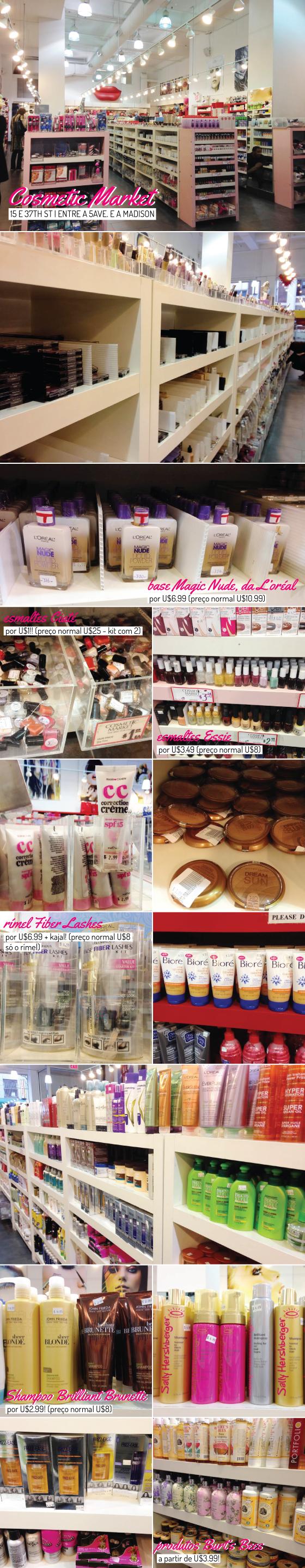 cosmetic-market-loja-cosmetico-maquiagem-produto-cabelo-beleza-beauty-dica-onde-ir-comprar-compras-barato-desconto-promocao-loreal-burts-bees-maybelline-essie-esmalte-john-frieda-ny-new-york-dica-dicas-viagem-tips-nova-iorque