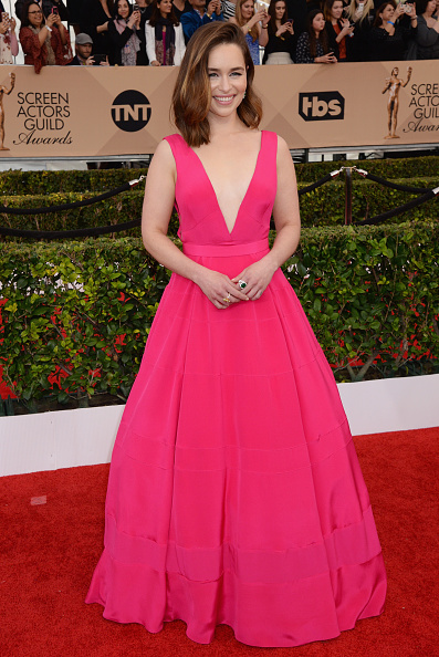LOS ANGELES, CA - JANUARY 30: Actress Emilia Clarke attends the 22nd Annual Screen Actors Guild Awards at The Shrine Auditorium on January 30, 2016 in Los Angeles, California. (Photo by Jeff Kravitz/FilmMagic)