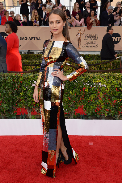 LOS ANGELES, CA - JANUARY 30: Actress Alicia Vikander attends the 22nd Annual Screen Actors Guild Awards at The Shrine Auditorium on January 30, 2016 in Los Angeles, California. (Photo by Jeff Kravitz/FilmMagic)