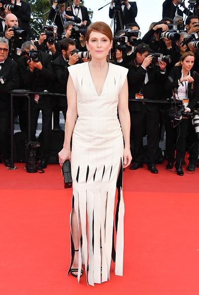 """CANNES, FRANCE - MAY 12: Actress Julianne Moore attends the screening of """"Money Monster"""" at the annual 69th Cannes Film Festival at Palais des Festivals on May 12, 2016 in Cannes, France. (Photo by George Pimentel/WireImage)"""